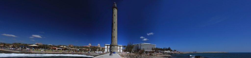 Panoramafoto Leuchtturm und Hotels von Maspalomas